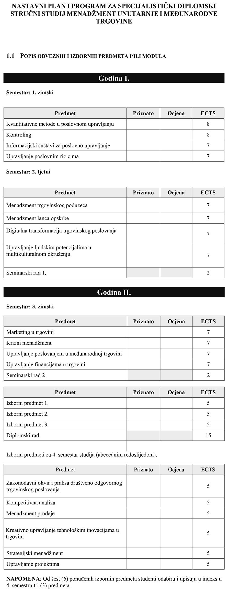 nastavni plan i program MUT-1